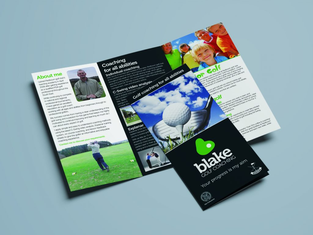 Freelance Artworker - Example of a leaflet for a golf professional
